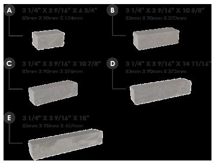 Dimensions de chaque brique champlain