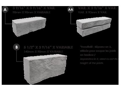 Dimensions de chaque pierre lorado
