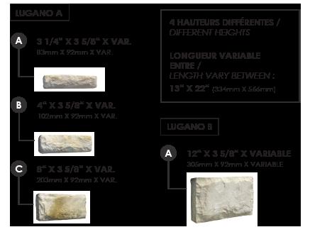 Dimensions de chaque pierre lugano