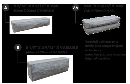 Dimensions de chaque pierre lima